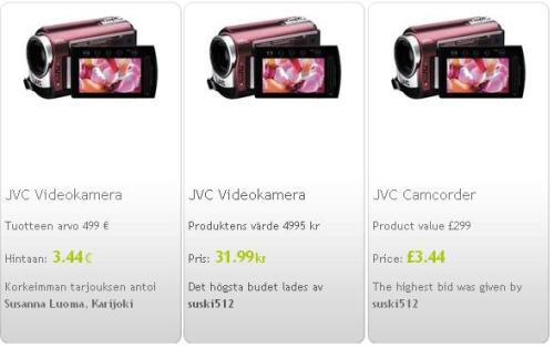 ssä myyty kamera eri maiden palvelussa